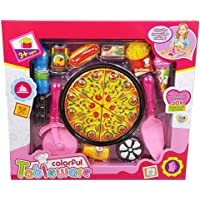 Toys N Smile Pizza Cutting Set Toys for Kids, Kitchen Restaurent Pretend Role Play Mini Fast Food Toy for Kids
