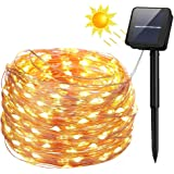 Solar String Lights, 100 LED Solar Fairy Lights 33 feet 8 Modes Copper Wire Lights Waterproof Outdoor String Lights for Garden Patio Gate Yard Party Wedding Indoor Bedroom (Warm White)