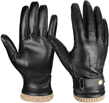 Amazon.com: Mens Winter Gloves Nappa Leather Cashmere Touchscreen - Thermal  Gifts for Dad: Sports & Outdoors