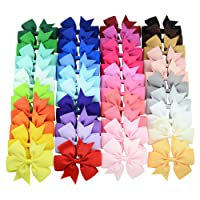 40pcs Different Colors 3 inch Grosgrain Ribbon Baby Girls Hair Bows Alligator Clips...