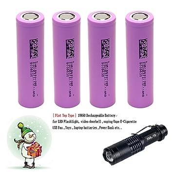4-Pcs 2600mAh 3.7V 18650 recargable Li-ion Flat Top Batería + Linterna LED Kit