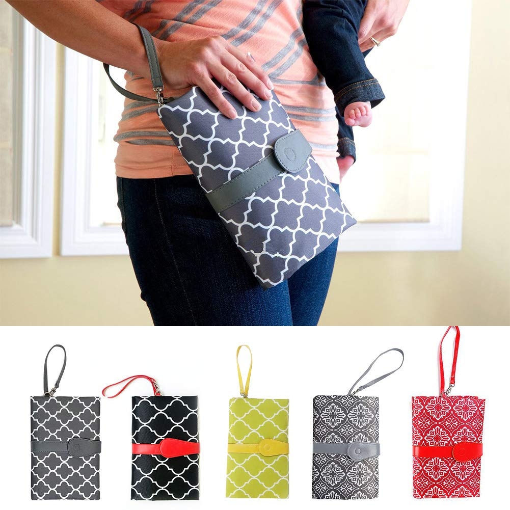 Gray Change Mat Clutch Wallet Style Diaper Pad Baby Portable Handbag Toddler Waterproof Nappy Foldable