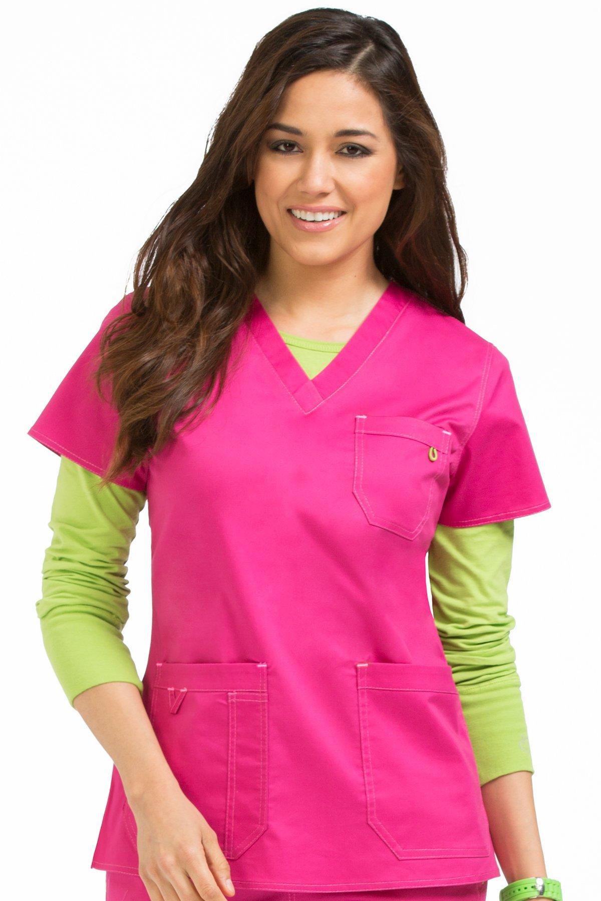 Med Couture Women's 'MC2' V-Neck Multi-Pocket Niki Scrub Top, Pink-A-Licious, Small