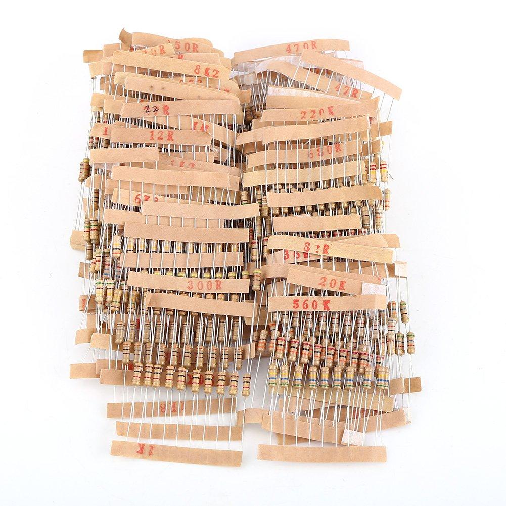 1000pcs Resistors Assortment Electronic Components, 1/2W 1-10M ohm Carbon Film DIY Resistors Kit Hilitand