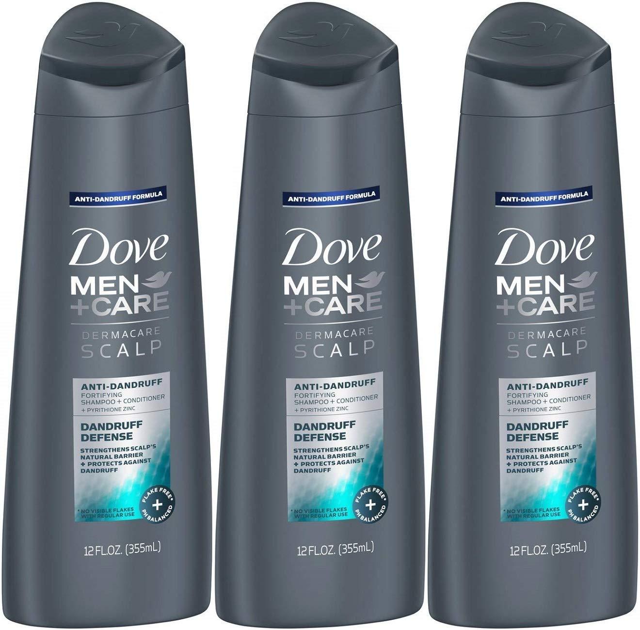 Dove Men+Care Dermacare Scalp 2-in-1 Shampoo & Conditioner, Dandruff Defense, 12 Ounce (Pack of 3)