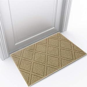 "Indoor Doormat Front Door Mat Non Slip Rubber Backing Super Absorbent Mud and Snow Magic Inside Dirts Trapper Mats Entrance Door Rug Shoes Scraper Machine Washable Rug Carpet - Beige, 24""x 36"""