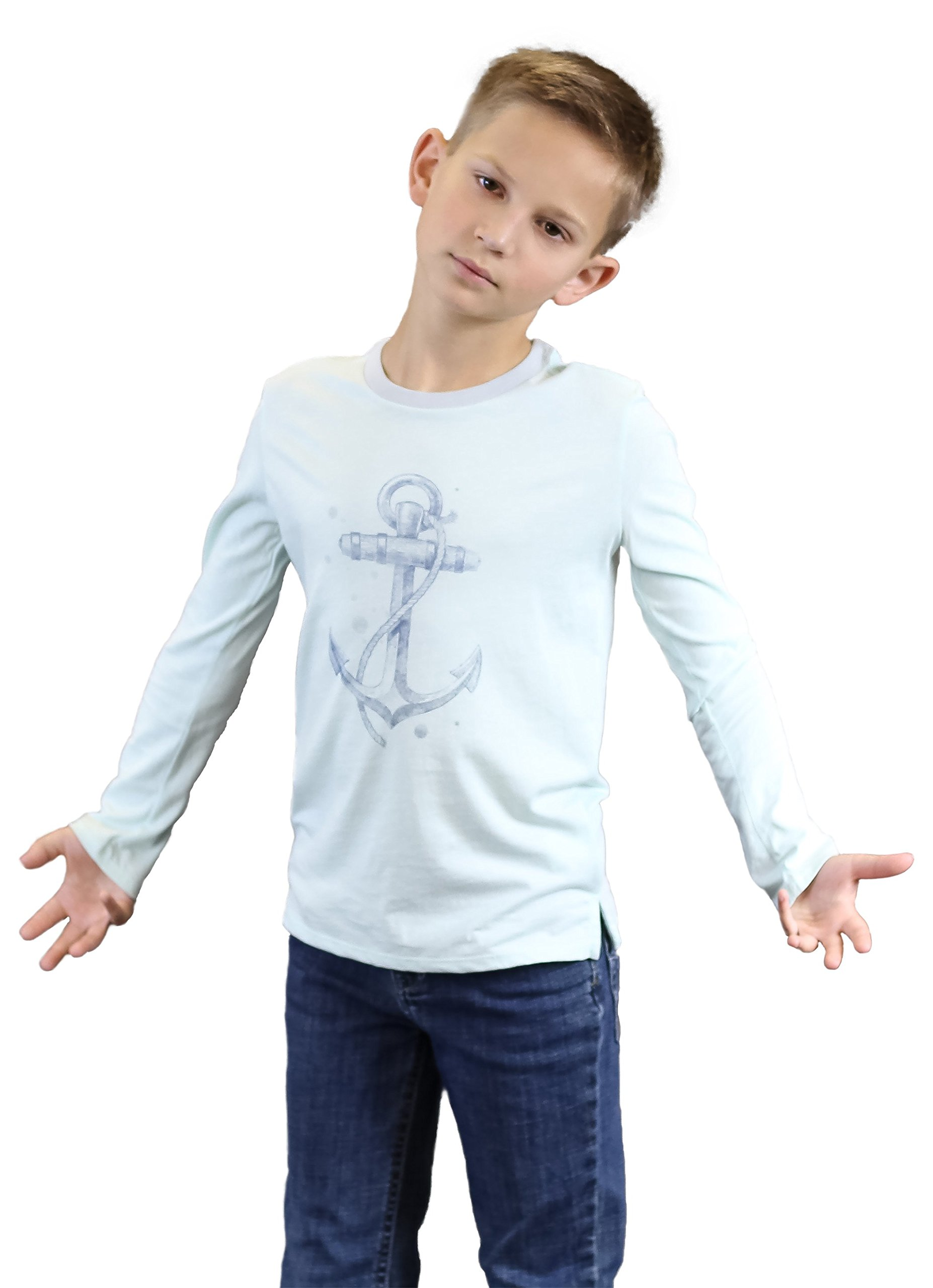 Toddler Boy's Pima Cotton Anchor Graphic Print Tee Nautical Top Turquoise 2T