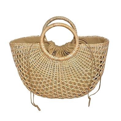 faa71d939d65c ACMEDE Damen Shoppertasche aus Stroh mit Griffen Stroh Tasche Korb  Strandtasche Handtaschen Tragetasche Rattan Tasche Sommer
