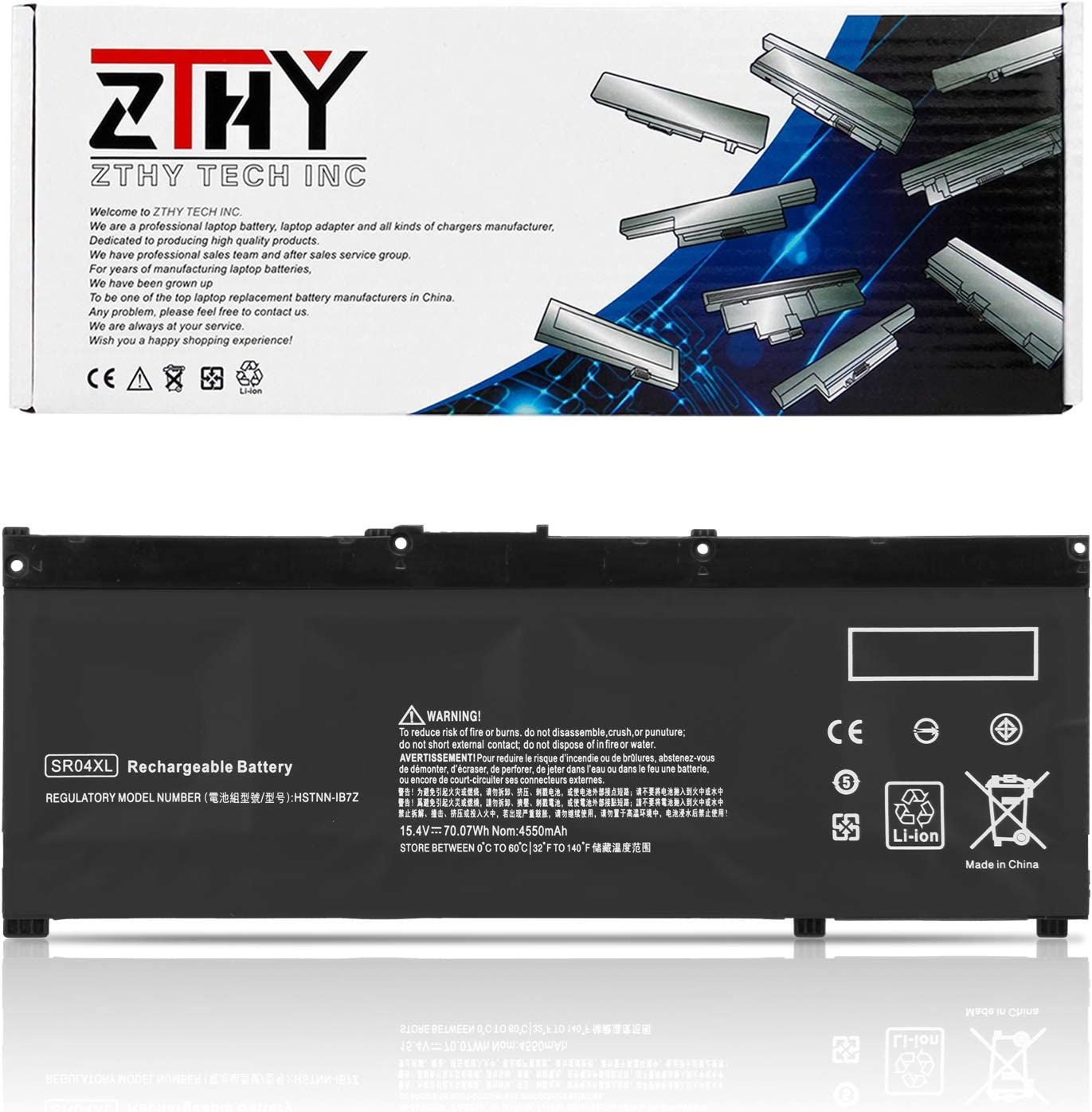 ZTHY SR04XL Laptop Battery for HP Pavilion Power 15-CB000 CB000NG CB045WM CB052TX 15T-CB2000 Omen 15-CE000 CE015DX CE002NG CE011DX DC0000 DC0030NR DC1054NR Gaming 15-CX000 917724-855 15.4V 70.07Wh