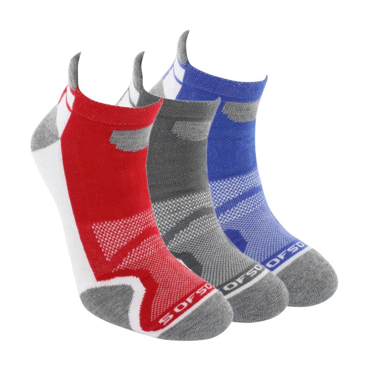 SofSole Socks Men's Multi Sport Cushion Low Cut, White Blue/Grey/Red, Size 8-11 29747