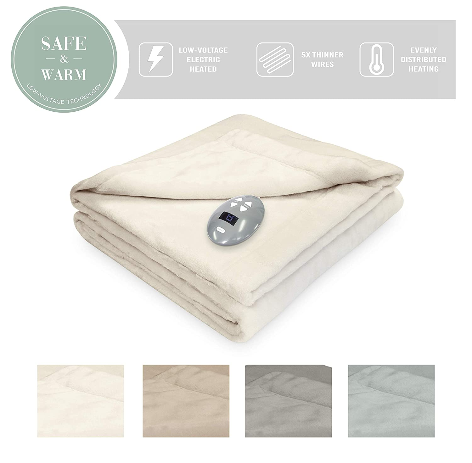 SoftHeat by Perfect Fit | Luxurious Velvet Plush Heated Electric Warming Blanket with Safe & Warm Low-Voltage Technology (Full, Gray) 856542