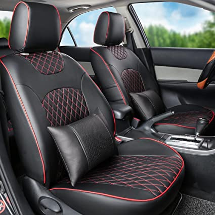 Black LEATHERETTE CAR SEAT COVERS FULL SET