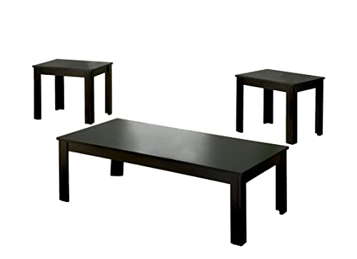 Furniture of America Monroe 3-Piece Accent Table Set, Black Finish