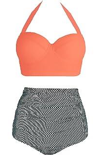 c4027497ba Amourri Vintage Polka Underwire High Waisted Swimsuit Bathing Suits Bikini