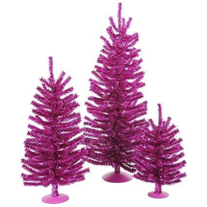 vickerman 12 18 and 24 unlit fuchsia mini tree set