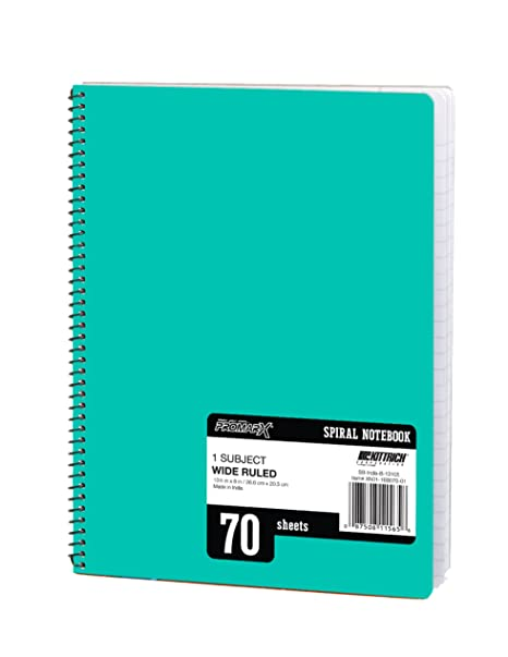 7f50084462b4 Promarx 70-Page Wide Ruled 1-Subject Spiral Notebook with 3-Hole Punch and  Perforated Pages, Assorted Colors, 10.5 x 8 Inches, Pack of 24