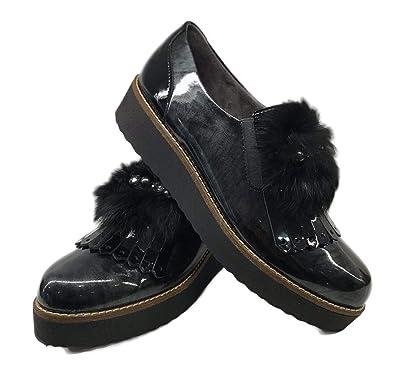 Zapato Pitillos 5410 Abotinado Adorno Pelo (37 EU, Negro)