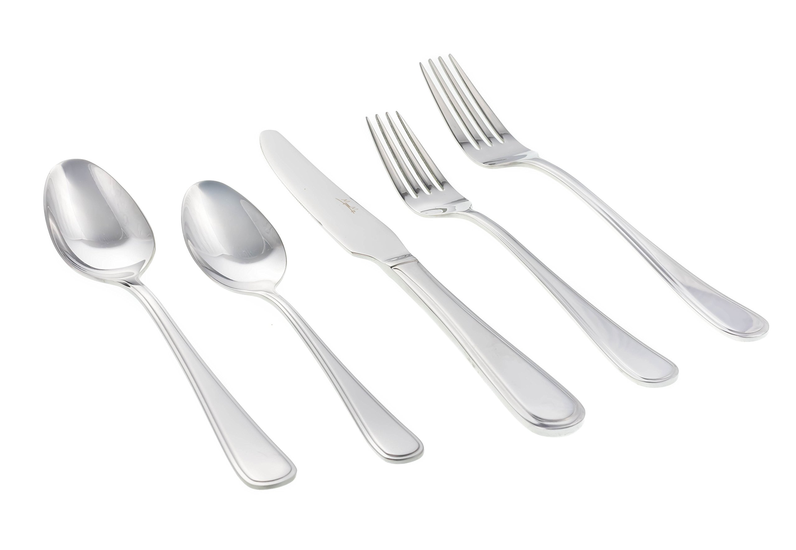 Stainless Steel Flatware Set by MosesMo- Modern & Perfect Weight Utensil Set- 20 or 40 Pieces Set- Everyday Luxurious Mirror Polished Silverware- Restaurant & Hotel Quality (20)