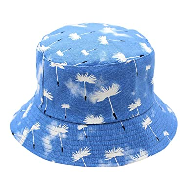 b86f7b0fc83 Bucket Cap Packable Reversible Dandelion Printed Sun Hat Outdoor Fisherman Hats  Women Men (Blue