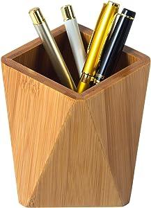 YOSCO Bamboo Wood Desk Pen Holder Stand Geometric Pencil Cup Pot Desk Office Supplies, Makeup Brushes Organizer (Bamboo)