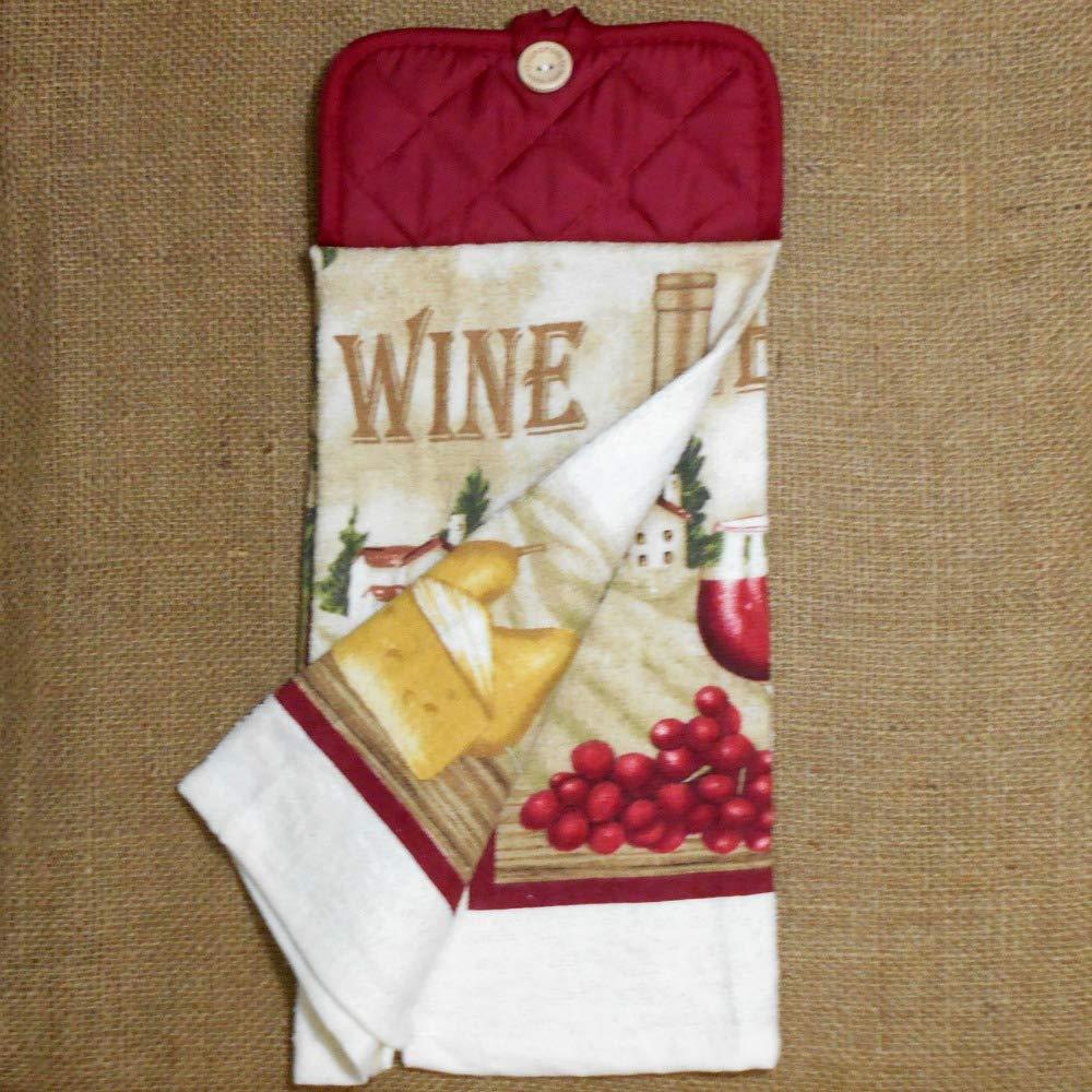 Kitchen Decor Wine Themed Hanging Dish Towel