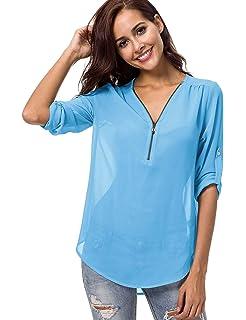 915a279a Meshieyla Semi Sheer Blouse Women's Chiffon Scoop Neck Casual Long Sleeve  See Though Button-Down