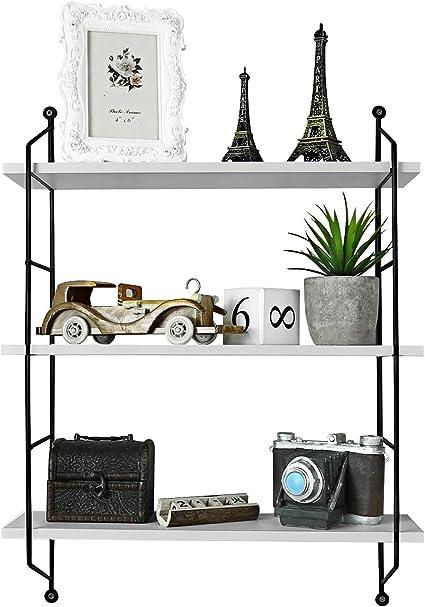 Oliote /Étag/ère flottante /à 3 niveaux /étag/ère murale industrielle blanc /étag/ère ouverte pour chambre//cuisine//bureau//salle de bain /étag/ère de rangement en bois