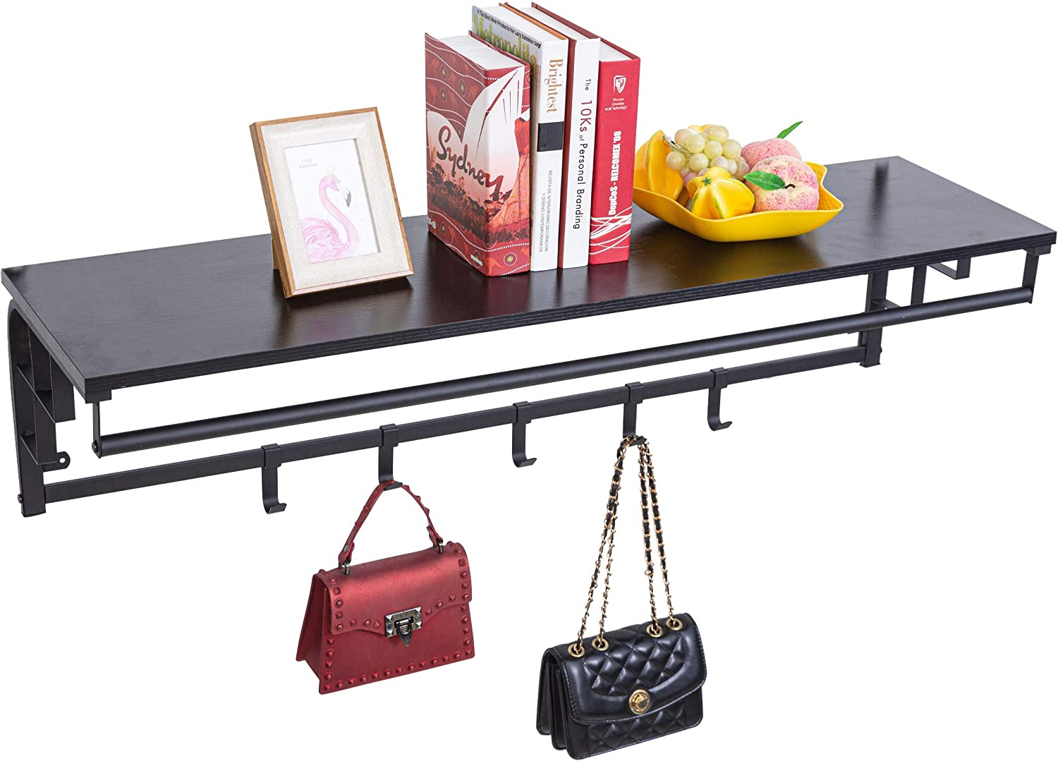 Sihang Home Heavy Duty Coat Rack Wall Mount with Shelf, Wall Hooks Rack with Hanging Rails, Storage Shelf, 5 Removable Hooks for Enterway Bedroom Living Room Boutique