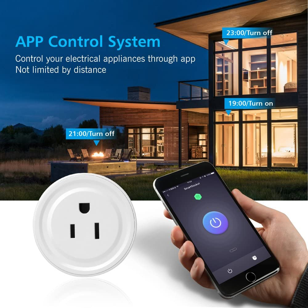 No Hub Required Wifi Mini Socket Smart Home Devices Mini Smart Outlet Compatible with Alexa Echo Google Home Remote Control Your Devices from Anywhere Wifi Smart Plug