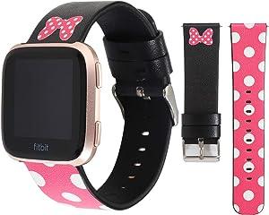 Jimbird Lovely Style Watch Band for Fitbit Versa & Versa Lite & Versa 2, Strap Cute Dressy Leather Wristband Bracelet Compatible