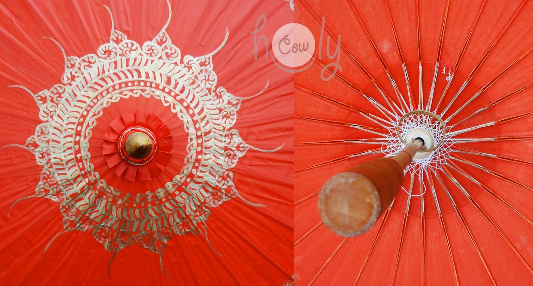 Hand Painted Orange Cotton Waterproof Umbrella