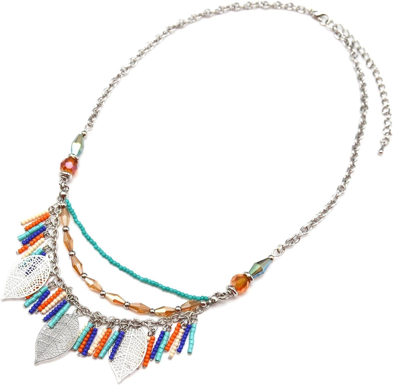 CC1317EC-Collar varias vueltas de perlas, cadenas y diseño hojas estantes de metal, color plateado con diseño de moda