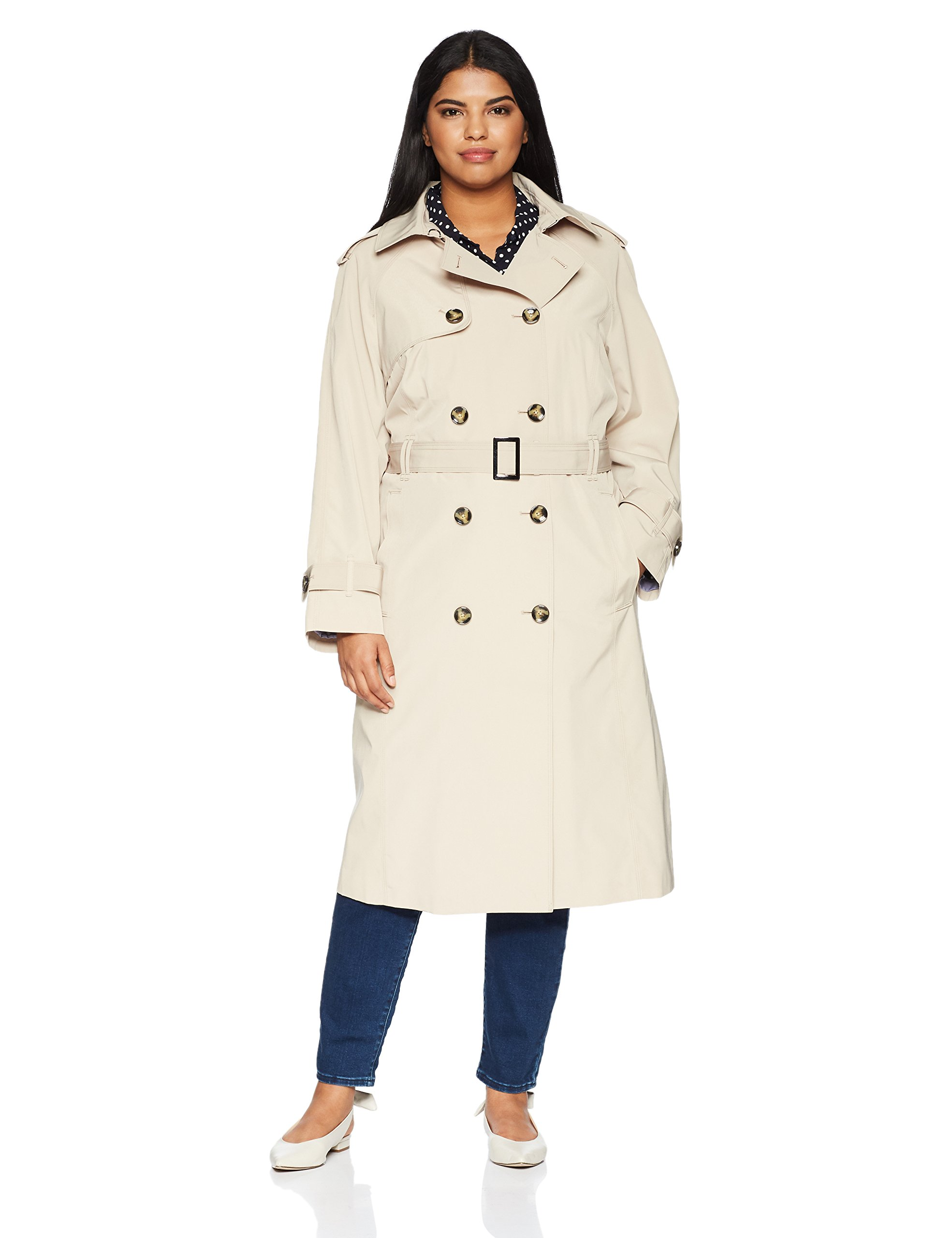 London Fog Women's Plus Size Double-Breasted 3/4 Length Belted Trench Coat, Stone, 3X by London Fog