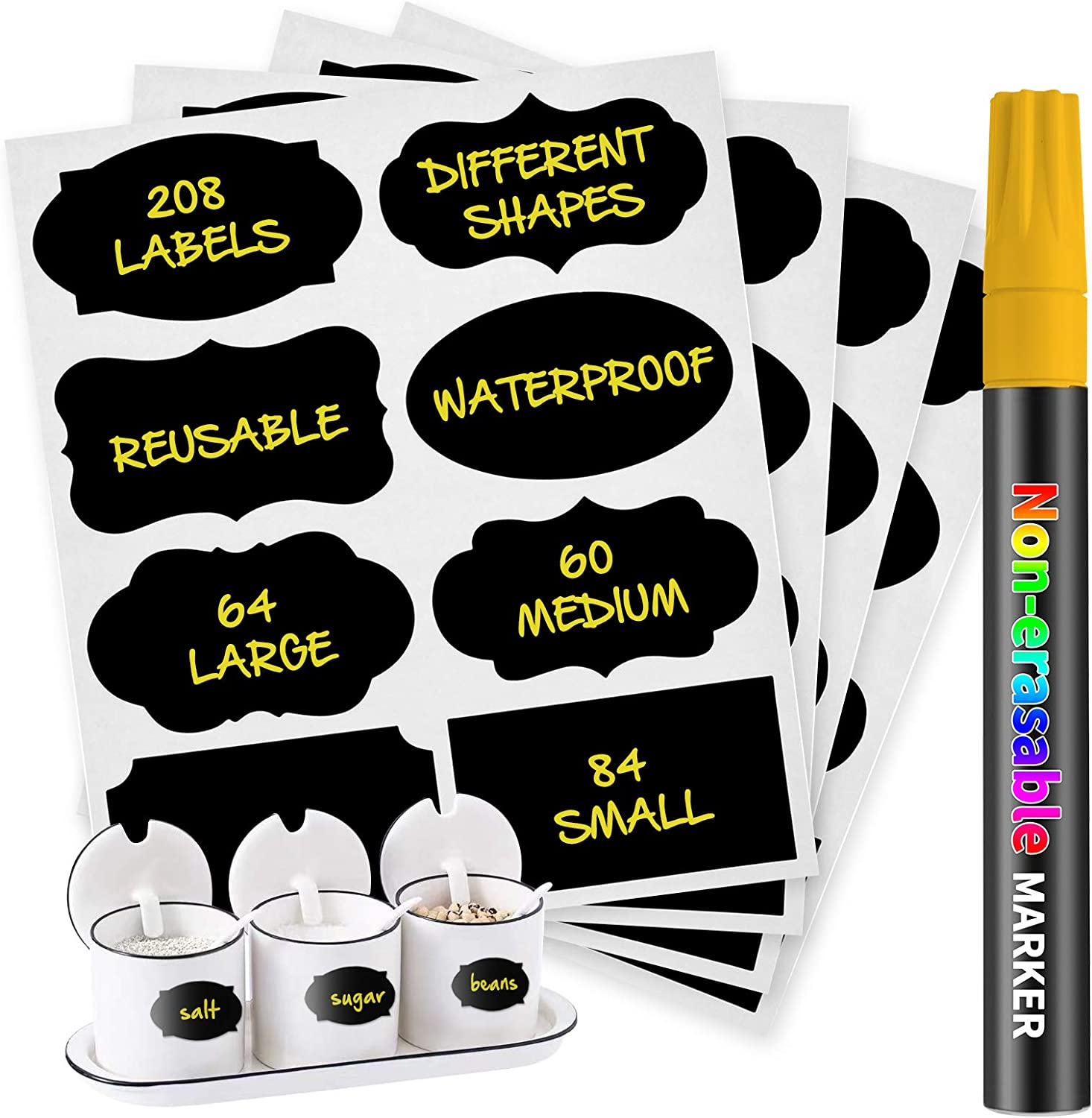 208PCS Chalkboard Labels Stickers, Waterproof Removable Decorative Premium Label Sticker with Chalk Marker for Pantry,Bottles,Mason Jars,Containers, Organize Kitchen&Office (Yellow Marker)