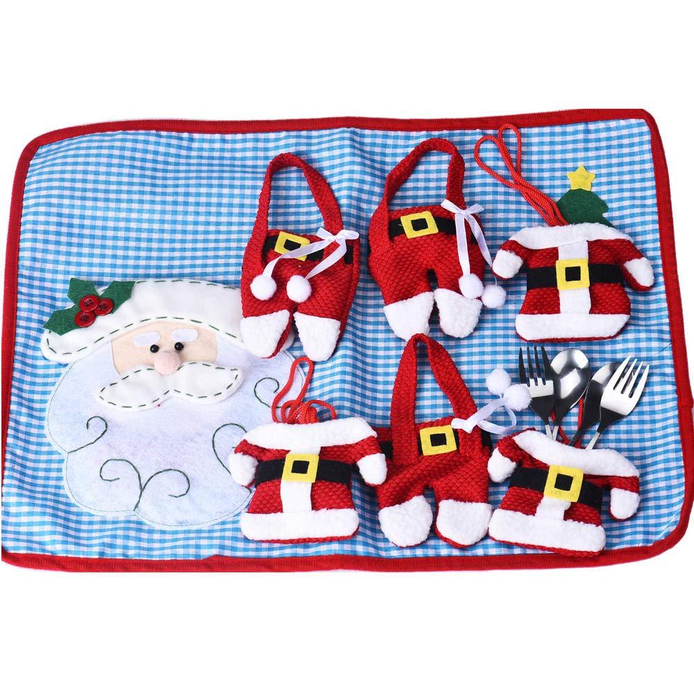 MIRRAY 10 UNIDS Gorros de Navidad Cubiertos Tenedor Cuchara Bolsillo Bolsillo Decoración de Navidad: Amazon.es: Hogar