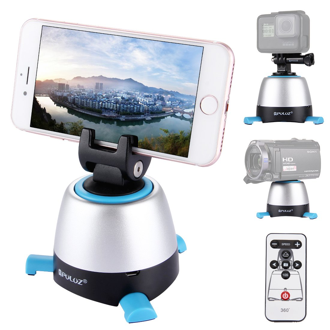 360°Panoramic Shooting, PULUZ Electric Intelligent Tripod Head Rotation with IR Remote Control & Build-in Bluetooth for Most of Cellphones & Cameras Max load: 1kg/2.2lb