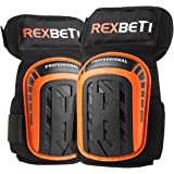 Knee Pads for Work, Construction Gel Knee Pads Tools by REXBETI, Heavy Duty Comfortable Anti-slip Foam Knee Pads for Cleaning Flooring and Garden, Strong Stretchable Double Straps - Orange, 1 Pair