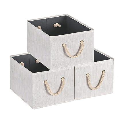 MaidMAX Cajas de Almacenaje Decorativas, Cajas de Almacenamiento de Tela Plegables, Cestos con Manillas de Cuerda para Almacenaje de Ropa, Juguetes, ...