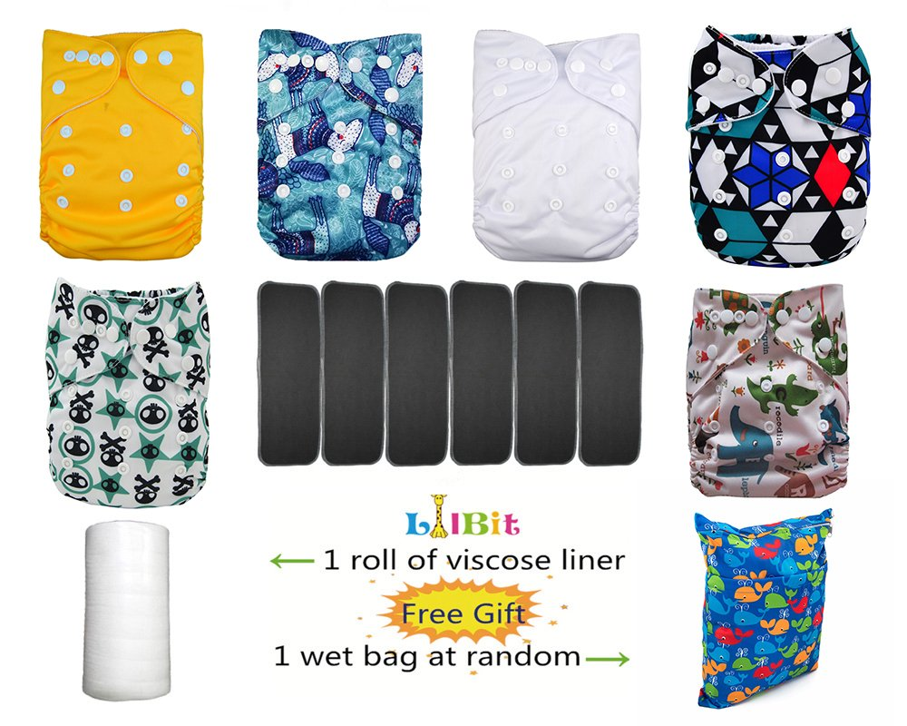 Lilbit 6 Nappy Adjustable Baby Cloth Diapers with 6 Bamboo Charcoal Inserts,flushable Viscose Liners,Wet//Dry Bag Ymxtzzh10
