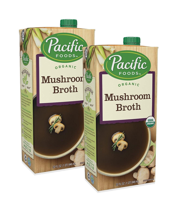 Pacific Foods Organic Mushroom Broth, 32-Ounce Carton (Pack of 2)