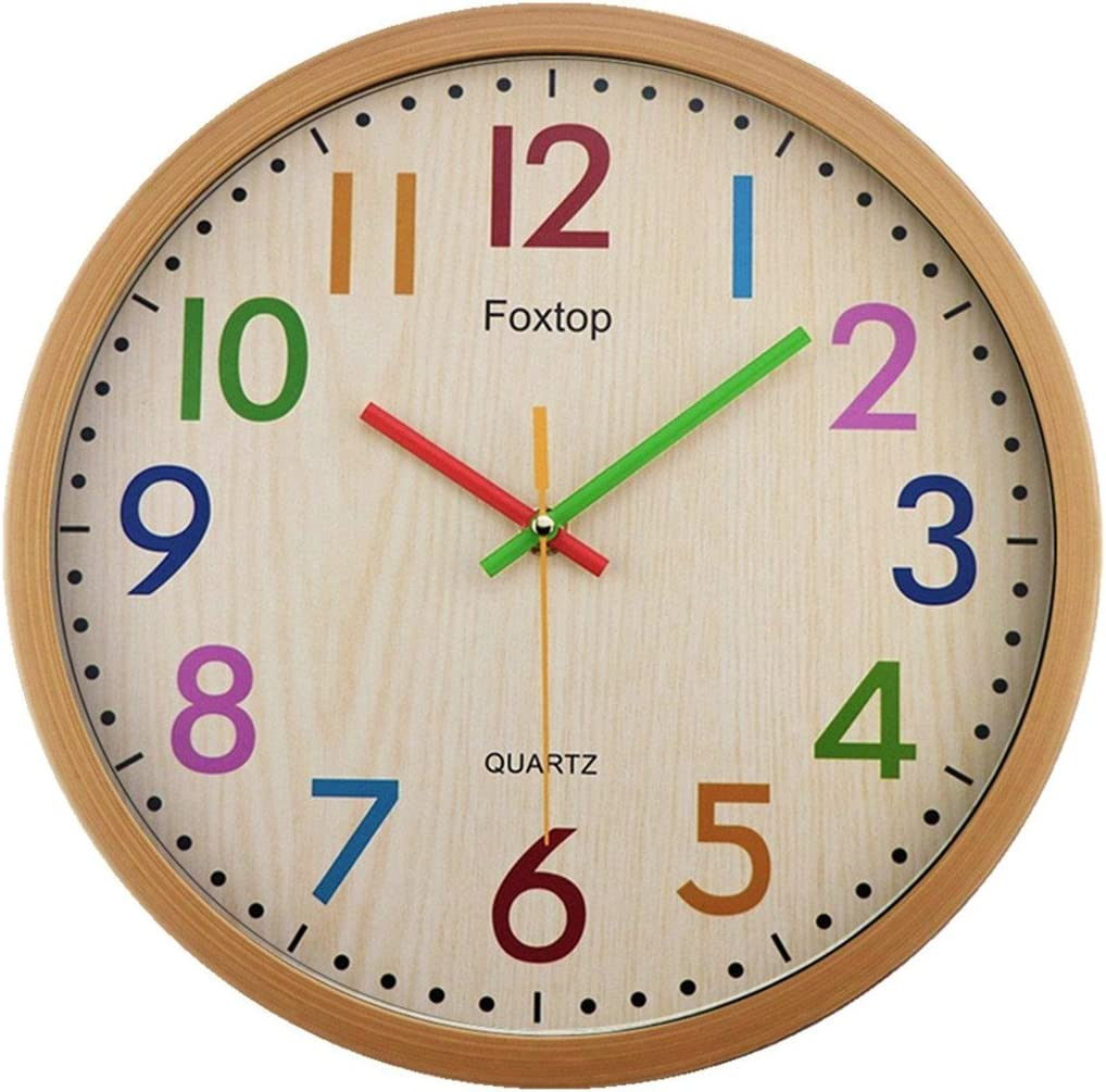 Foxtop Silent Non Ticking Kids Wall Clock, 12 Inch Battery Operated Colorful Decorative Clock for Children Nursery Room Bedroom School Classroom - Easy to Read