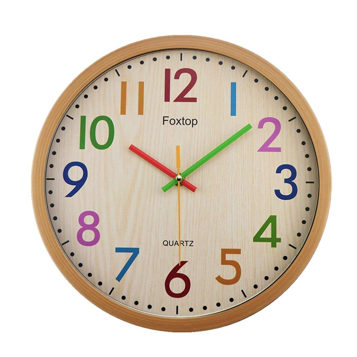 Foxtop Large Silent Non-ticking Decorative Colorful Kids Wall Clock Battery Operated for Living Room Bedroom School Classroom Child Gifts 12.5 Inch - Easy To Read FT-13I201531A