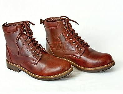 Herren Stiefeletten Schnürschuhe Braun Leder Biker Boots Öl