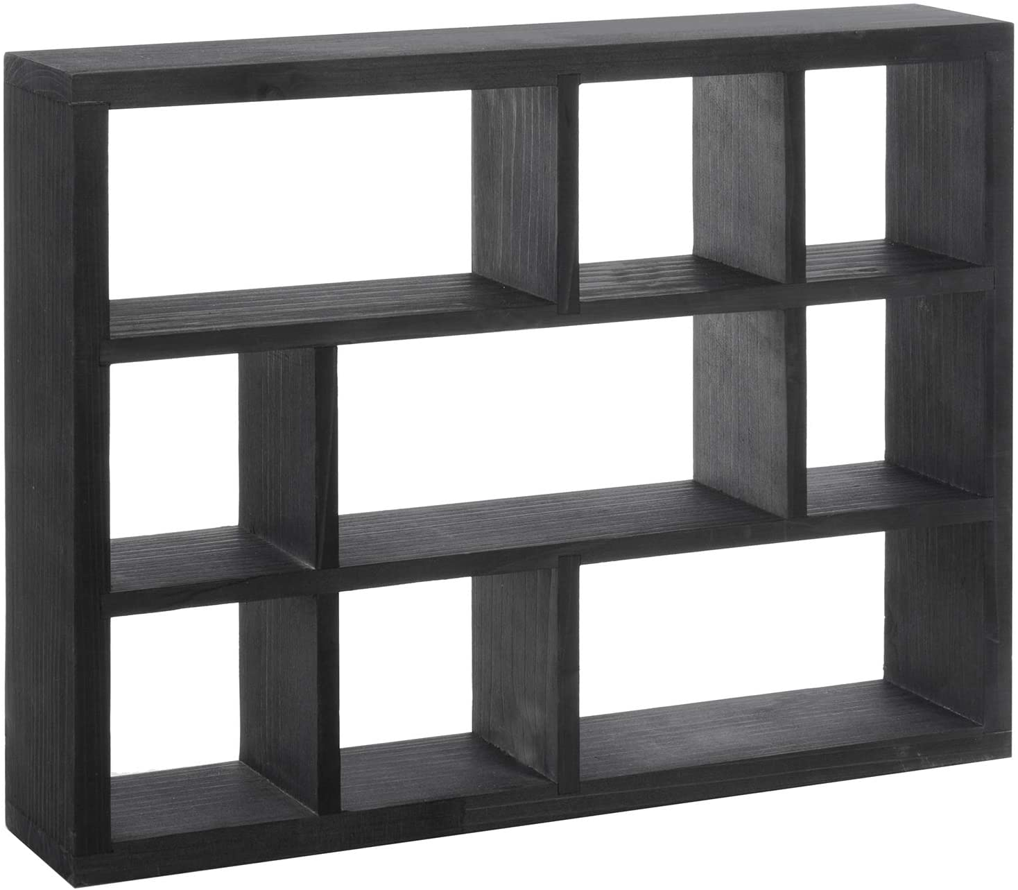 MyGift 15-Inch Wall-Mounted (Vertical or Horizontal) 9-Slot Rustic Wood Floating Shelves/Freestanding Shadow Box, Black