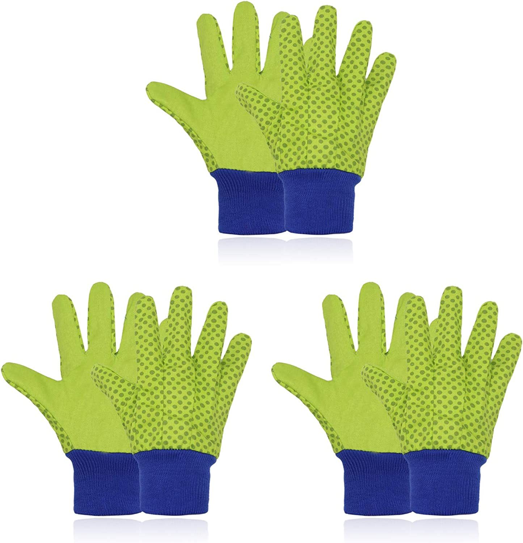3 Pairs Kids Garden Gloves for Age 5-8, Soft Children Gardening Gloves,Garden Working Gloves for Boys Girls
