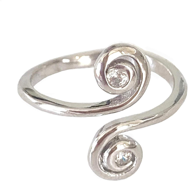 Adjustable Swirl Sterling Silver 925 Toe Ring Beach Jewelry