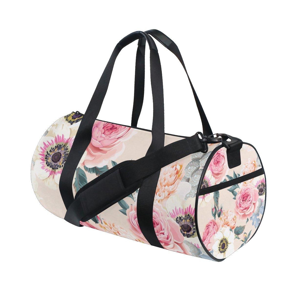 U LIFE Summer Spring Country Garden Floral Peony Flowers Sports Gym Shoulder Handy Duffel Bags for Women Men Kids Boys Girls