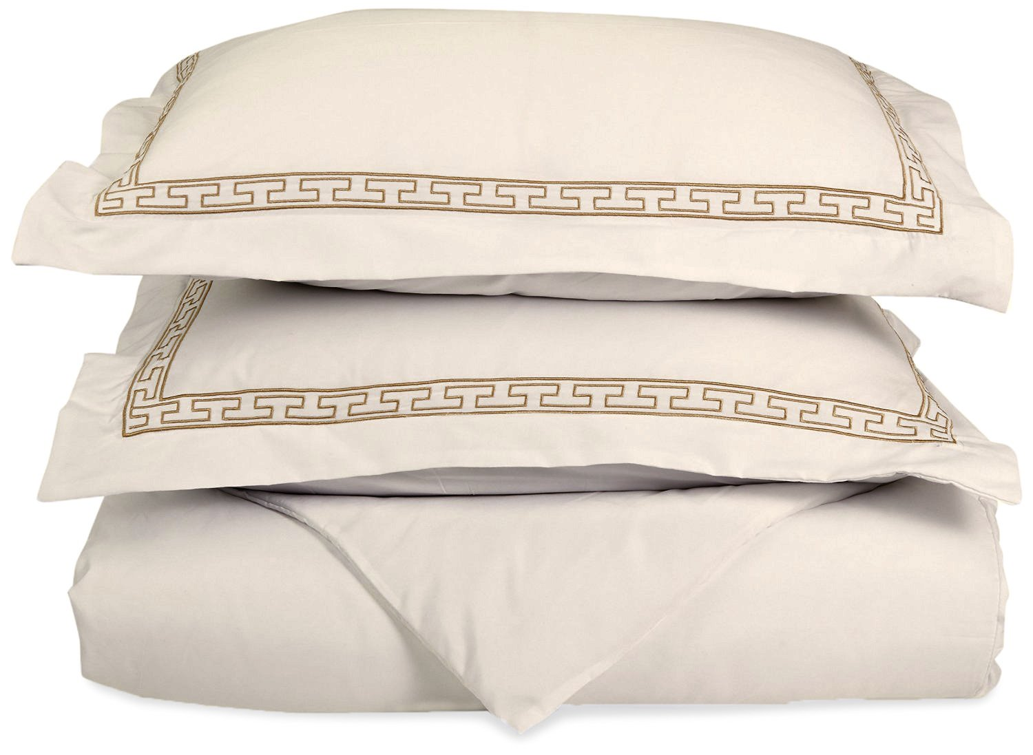 Super Soft Light Weight,100% Brushed Microfiber, King/California King, Wrinkle Resistant, Ivory Duvet Cover with Taupe Regal Embroidered Pillowshams in Gift Box