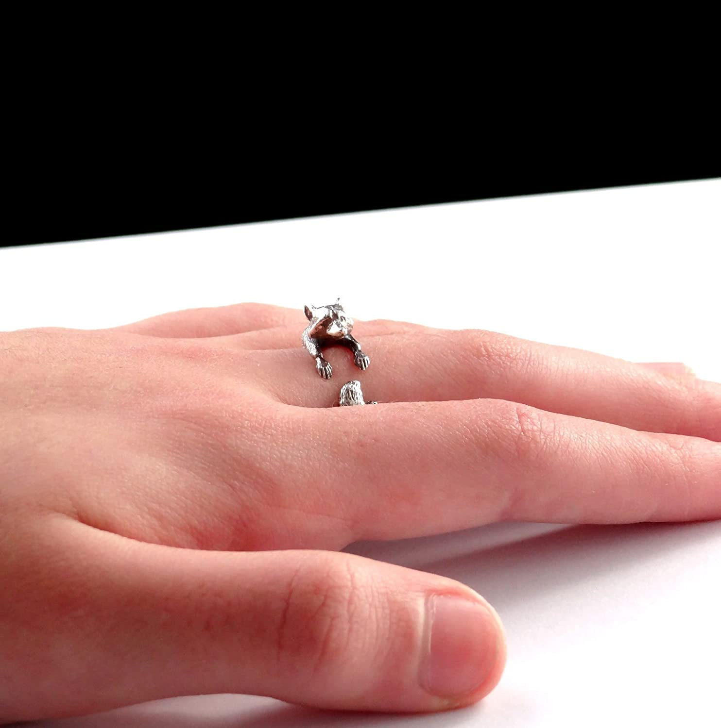 Amazon.com: Silver raccoon ring, cute animal jewelry, sterling ...