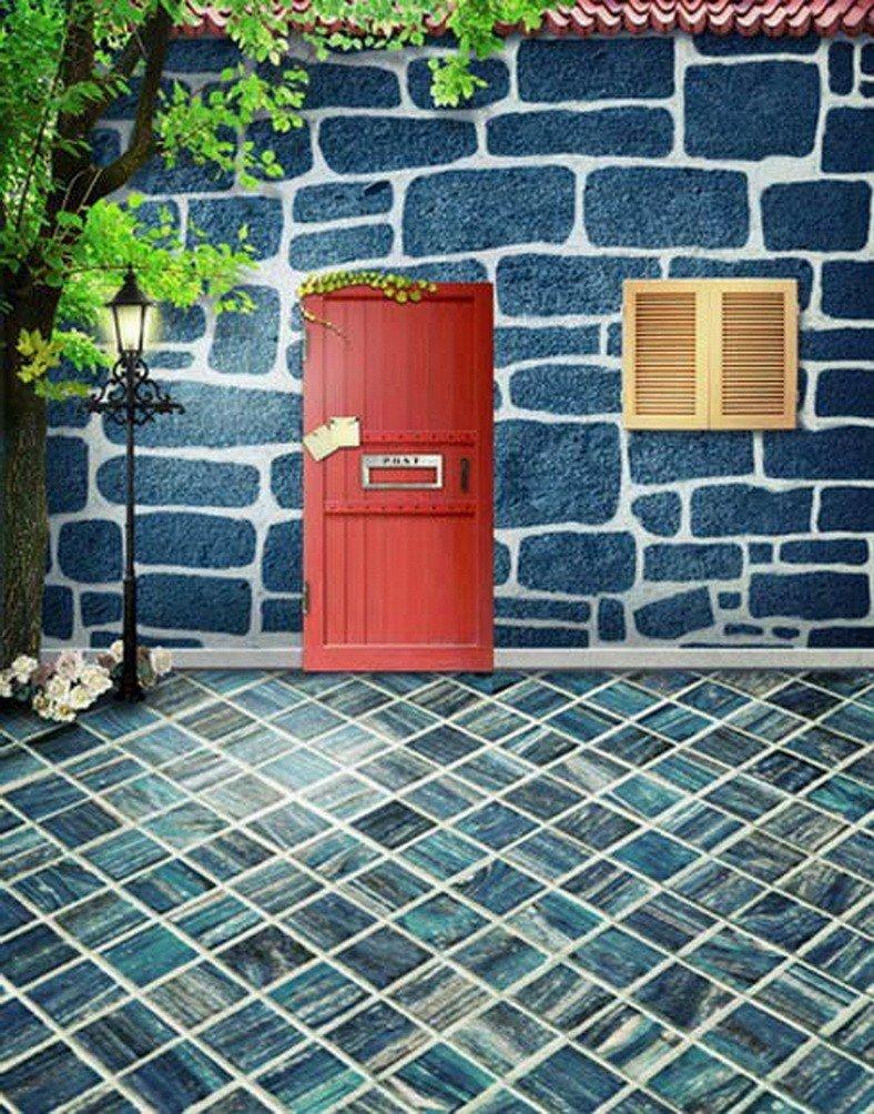A Monamourブルーストーンの床フロントドア子供部屋壁ファブリック壁画Studio小道具写真の背景幕   B01KTO93MW